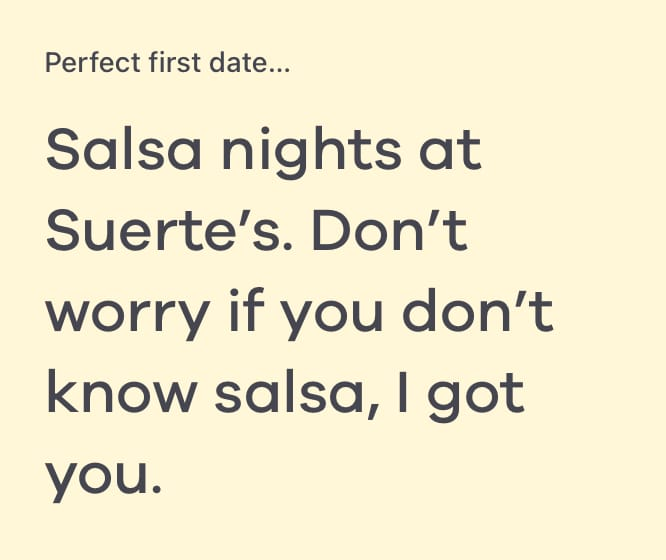 perfect first date bumble answers